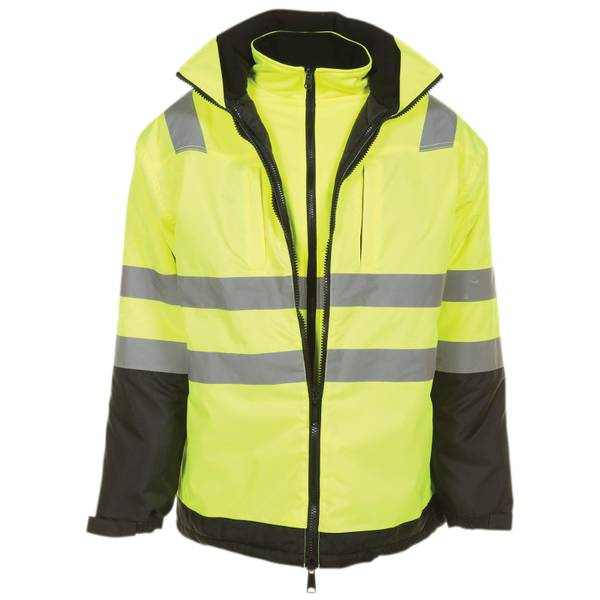 Men's Class 3 High Visibility Parka With Softshell Jacket