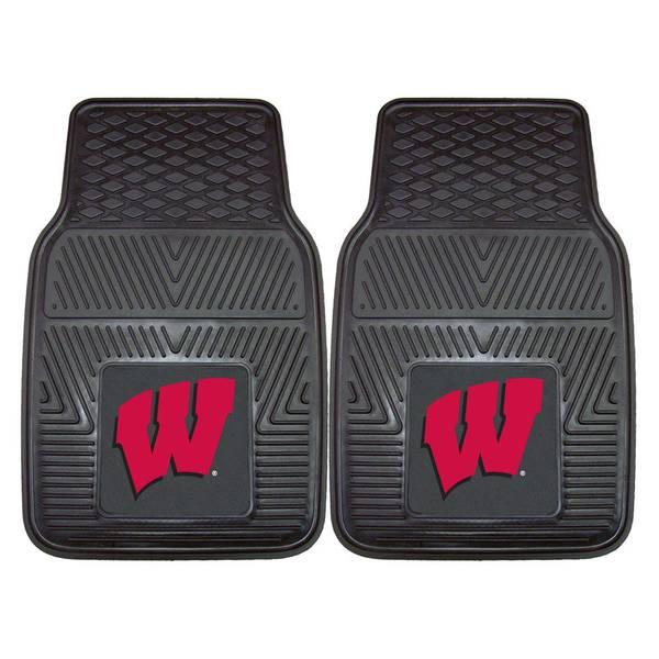 University of Wisconsin Badgers Black 2-Piece Vinyl Car Mat Set