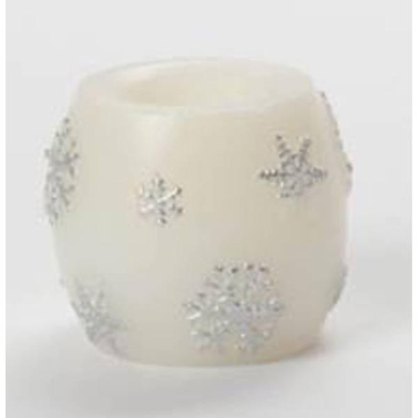 2-Pack Mini Wax Snowflake Hurricane Candles