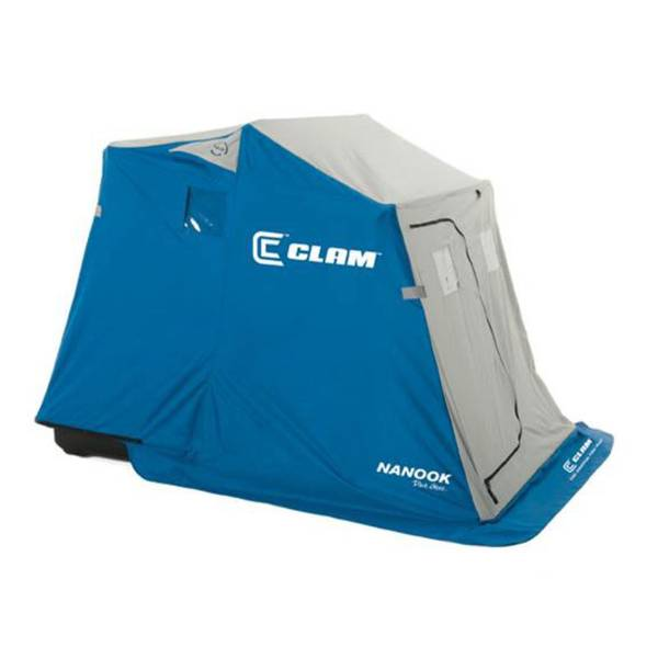 Clam nanook ice fishing shelter with padded seats at blain for Fleet farm ice fishing