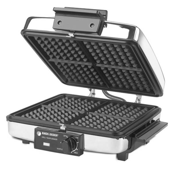 Electric Waffle Maker ~ Black decker chrome in waffle maker electric grill