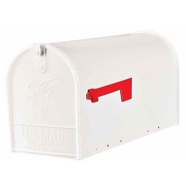 Elite White Large Galvanized Steel Mailbox