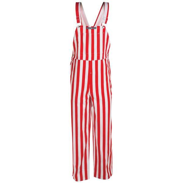 Red and White Stripe Bib Overalls