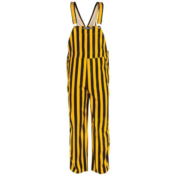 Black and Gold Stripe Bib Overalls