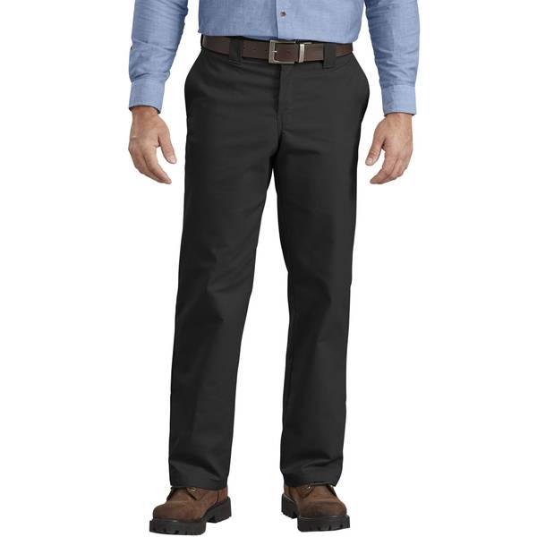 Men's Black Flex Regular Fit Straight Leg Work Pants