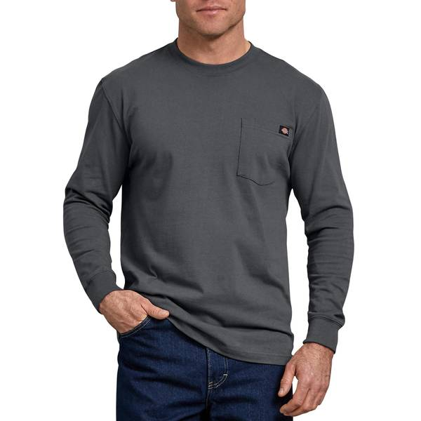 Men's Charcoal Long Sleeve Heavyweight Pocket T-Shirt