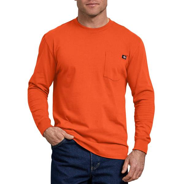 e1a639f58e85 Dickies Men's Charcoal Long Sleeve Heavyweight Pocket T-Shirt