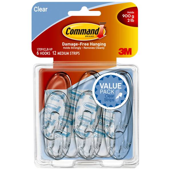 Medium Clear Hooks with Clear Strips Value Pack