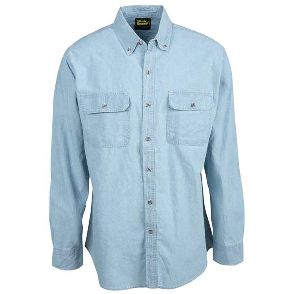 Men's Long Sleeve Teflon Chambray Shirt