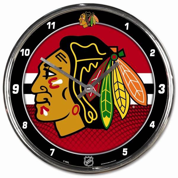 Chicago Blackhawks Chrome Clock