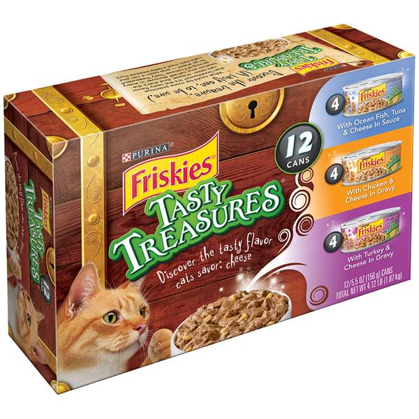 Friskies tasty treasures 12 can variety pack for Friskies cat fishing