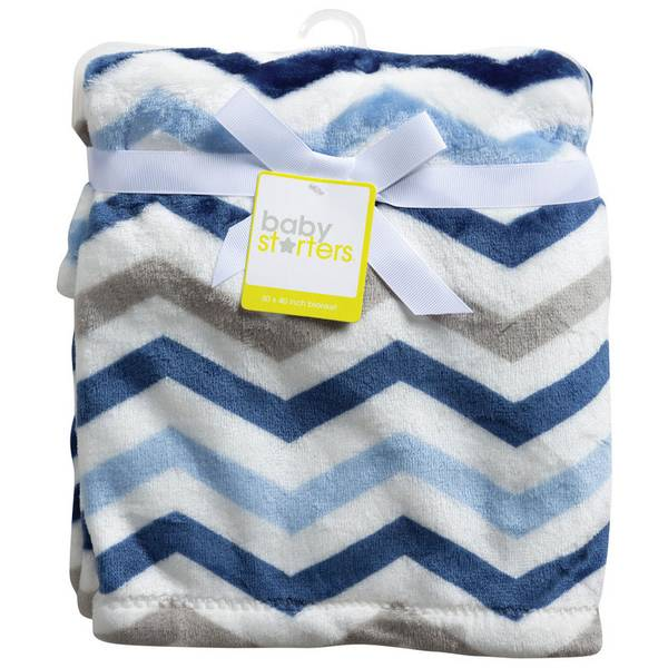 Blue & Gray Chevron Blanket