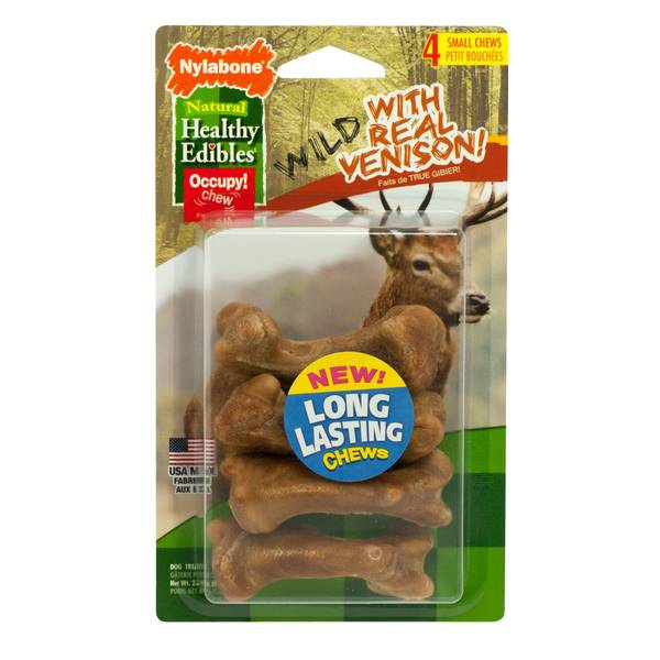 Healthy Edibles Small Wild Venison Dog Chew Treat Bones