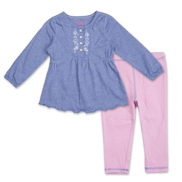 Infant Girl's Blue & Pink Floral Tunic Set