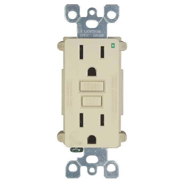 15A-125V Ivory GFCI Outlet, 3-Pack