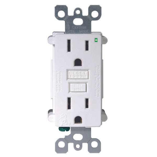 15A-125V White GFCI Outlet, 3-Pack