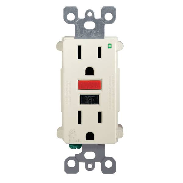 15A-125V Self Test GFCI Outlet, Light Almond