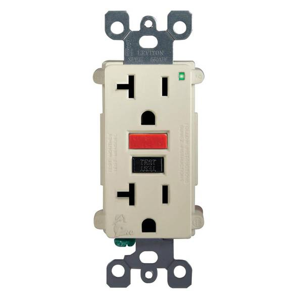 20A-125V Ivory Self Test GFCI Outlet