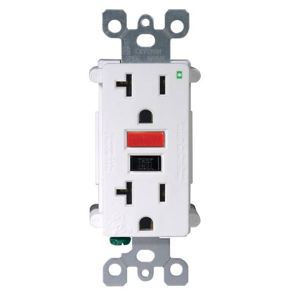 20A-125V White Self Test GFCI Outlet