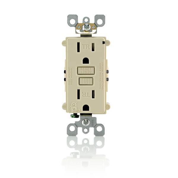 15A-125V Ivory Tamper Resistant GFCI Outlet