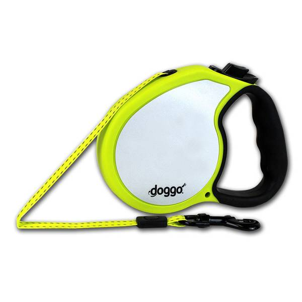 Doggo Neon Yellow Reflective Retractable Dog Leash