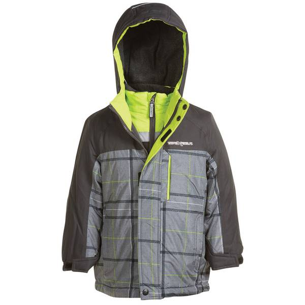 Boy's Gray Plaid Vector 3-in-1 Systems Jacket