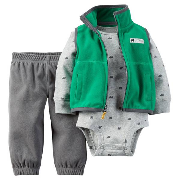 Baby Boy's Green & Charcoal Fleece Vest Set