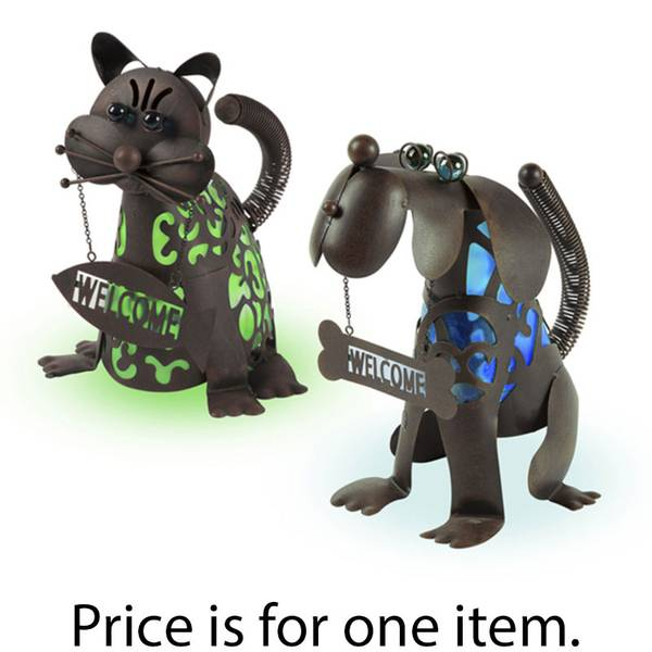 Garden Meadow Solar Welcome Cat And Dog Glow Assortment