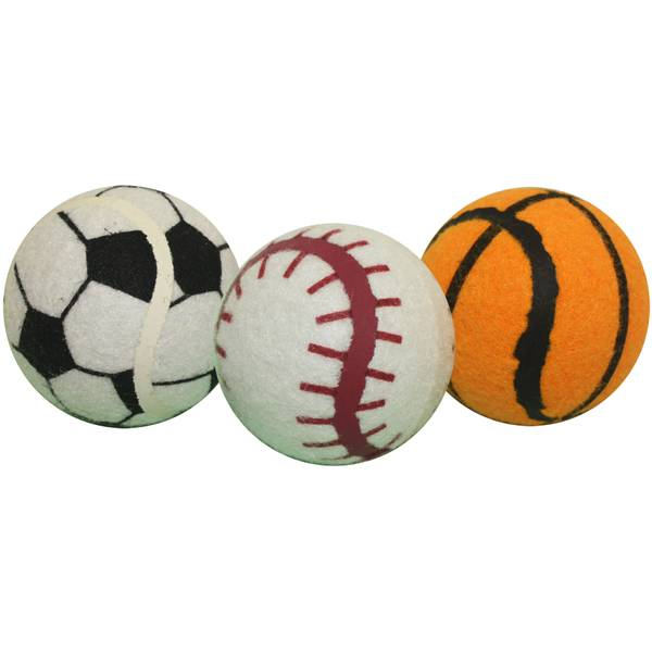 Sport Themed Tennis Ball Dog Toy - 3 Pack