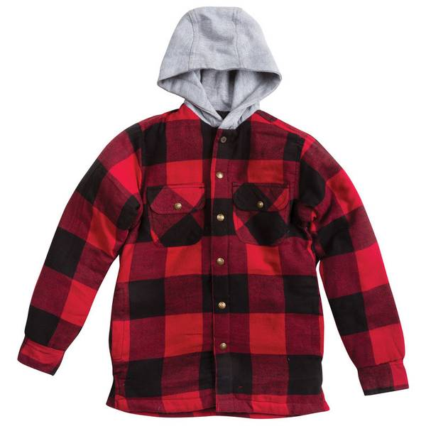 Boy's Red Hooded Snap Front Quilted Flannel Shirt