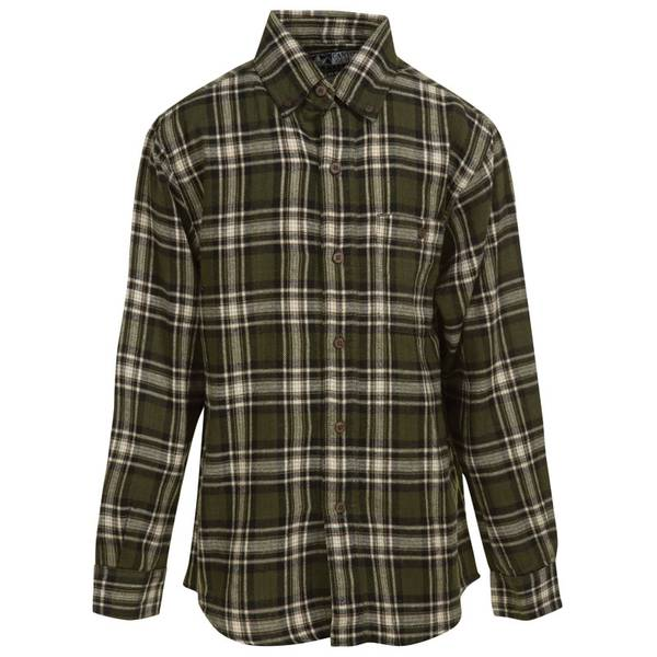 Canyon guide outfitters boy 39 s green black plaid flannel for Green and black plaid flannel shirt