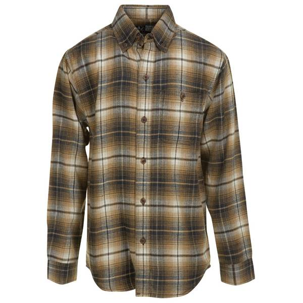 Canyon guide outfitters boy 39 s brown black plaid flannel for Brown and black plaid shirt
