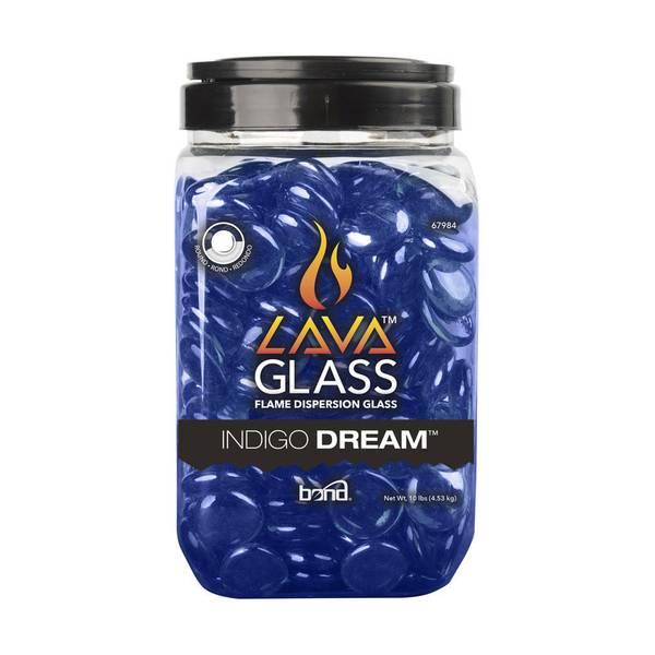 Round Indigo Dream Fire Pit Lava Glass