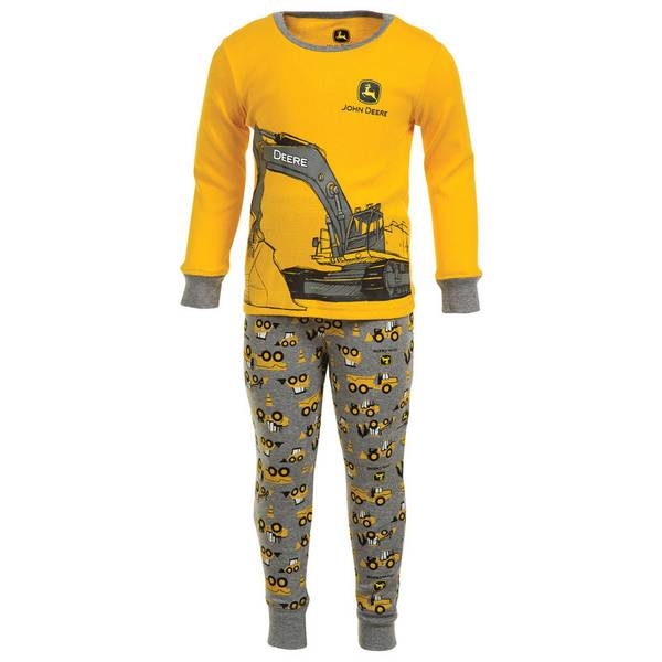 Toddler Boy's Yellow & Gray Construction Pajama Set