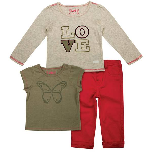 Infant Girl's 3-Piece Heather Green & Red Twill Jersey Set