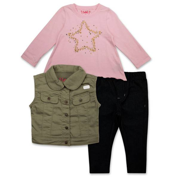 Infant Girl's 3-Piece Pink & Black Vest Set