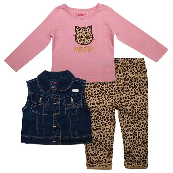 Infant Girl's 3-Piece Denim & Leopard Vest Set