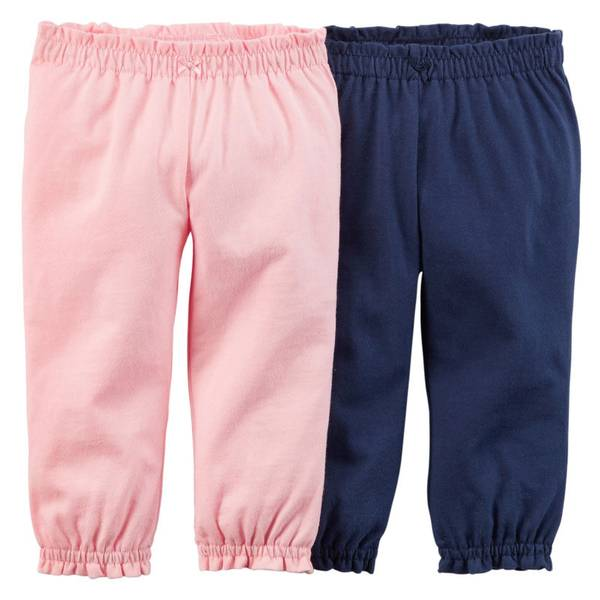 Infant Girl's Multi-Colored Essential Pants - 2 Pack