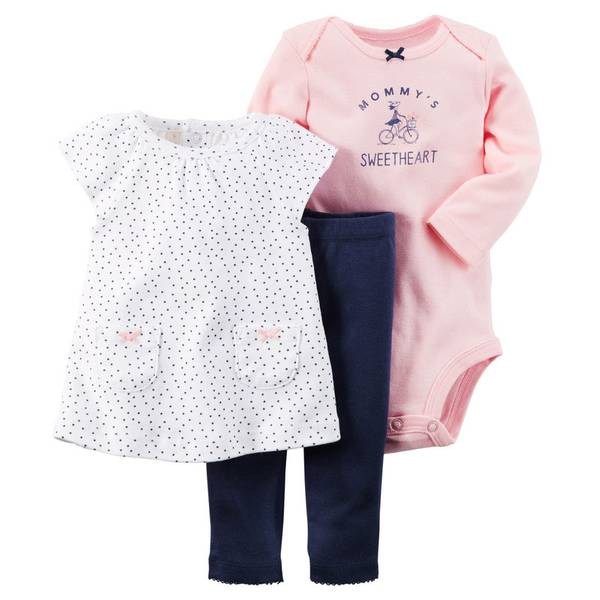 Baby Girl's Multi-Colored 3-Piece Tunic & Pant Set