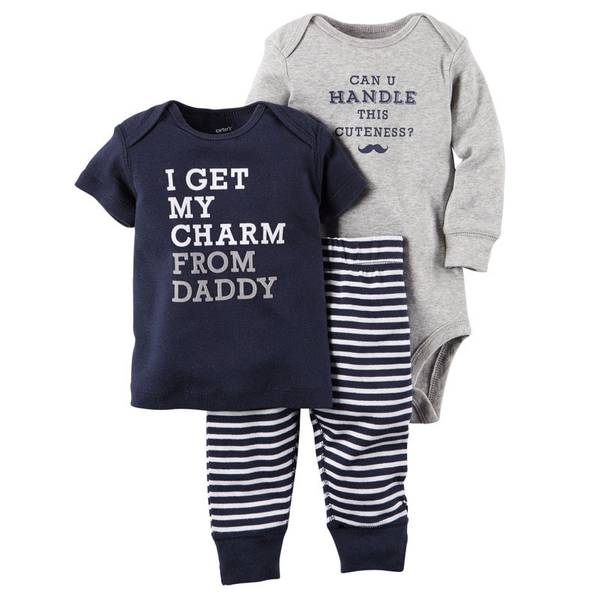 Baby Boy's 3-Piece Bodysuit & Pant Set