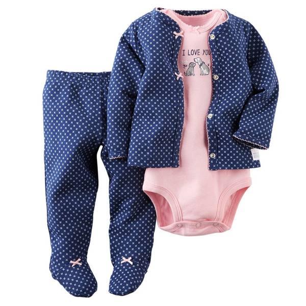 Baby Girl's Pink & Navy 3-Piece Cardigan Set