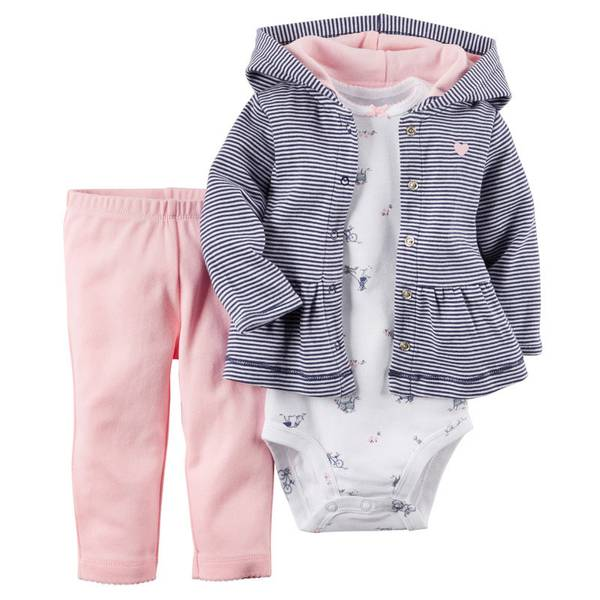 Baby Girl's Multi-Colored 3-Piece Hooded Cardigan Set