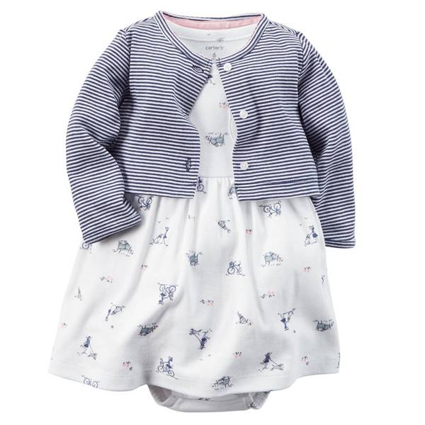 Baby Girl's Multi-Colored 2-Piece Bodysuit Dress & Cardigan Set