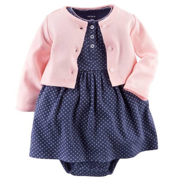 Baby Girl's Multi-Colored Bodysuit Dress & Cardigan Set