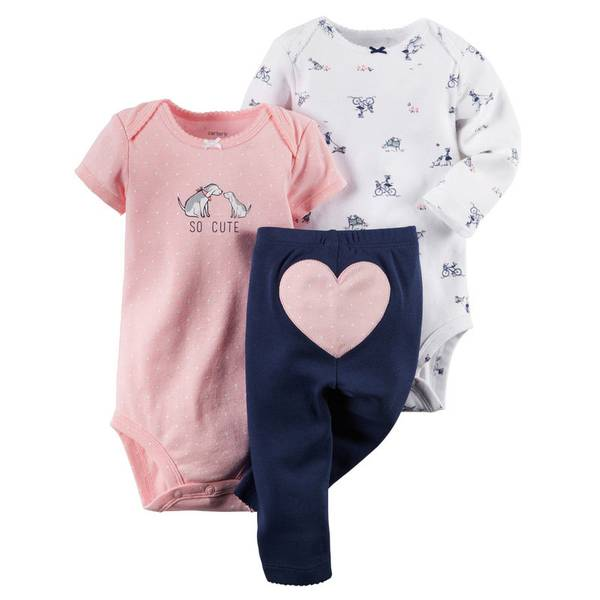 Baby Girl's Multi-Colored 3-Piece Bodysuit & Pant Set