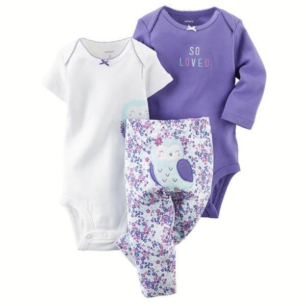 Baby Girl's Purple & White 3-Piece Bodysuit & Pant Set