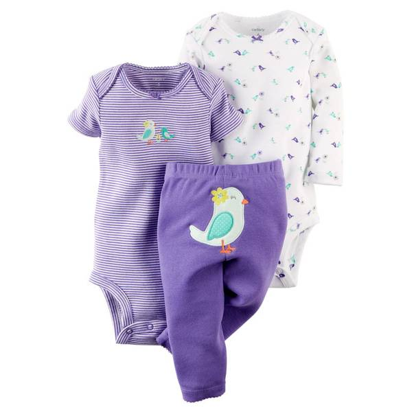 Infant Girl's Multi-Colored 3-Piece Bodysuit & Pant Set