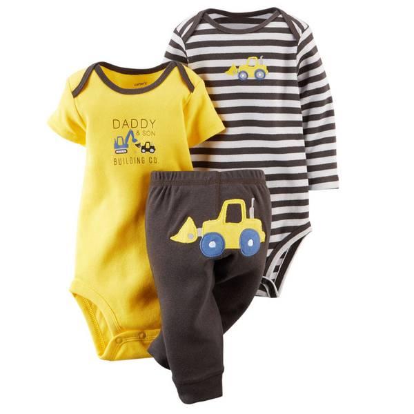 Baby Boy's Multi-Colored 3-Piece Bodysuit & Pant Set