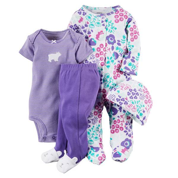 Baby Girl's Multi-Colored 4-Piece Take-Me-Home Set