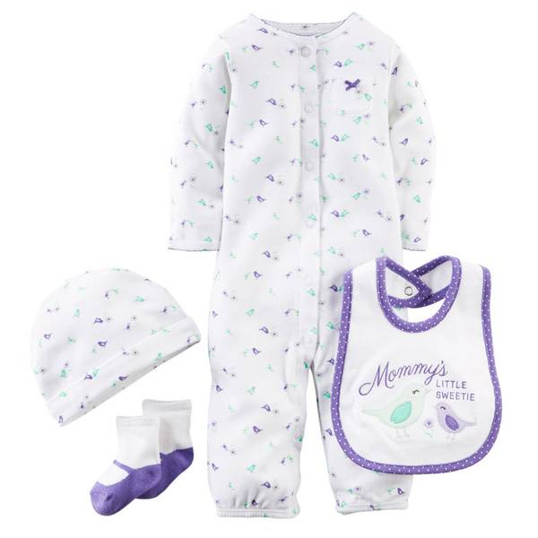 Baby Girl's Purple Layette 4 Piece Bird Set